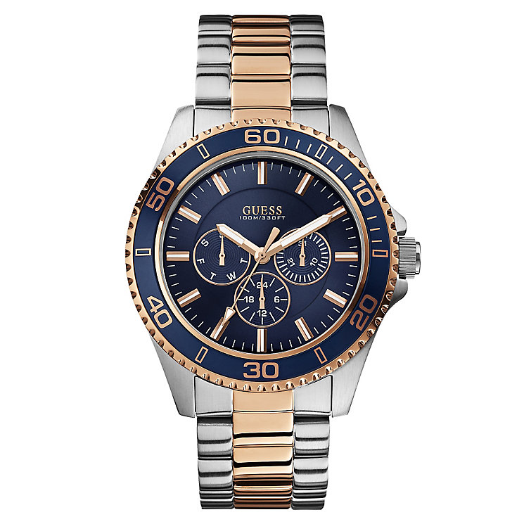 guess watches designer watches from guess h samuel guess men s blue dial two tone bracelet watch product number 2621584