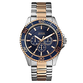 Guess Men's Blue Dial Two Tone Bracelet Watch - Product number 2621584