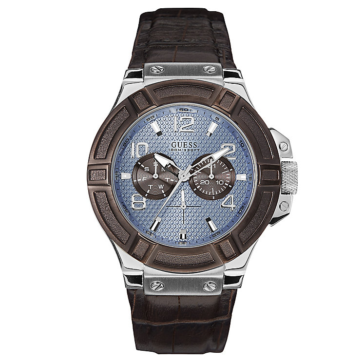 Guess Men's Blue Dial & Brown Leather Strap Watch - Product number 2621614