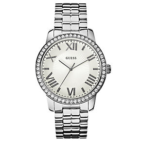 Guess Ladies' Silver Tone Crystal Set Bracelet Watch - Product number 2621630