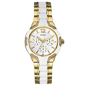 Guess Ladies' White Silicone & Yellow Gold Plated Watch - Product number 2621649
