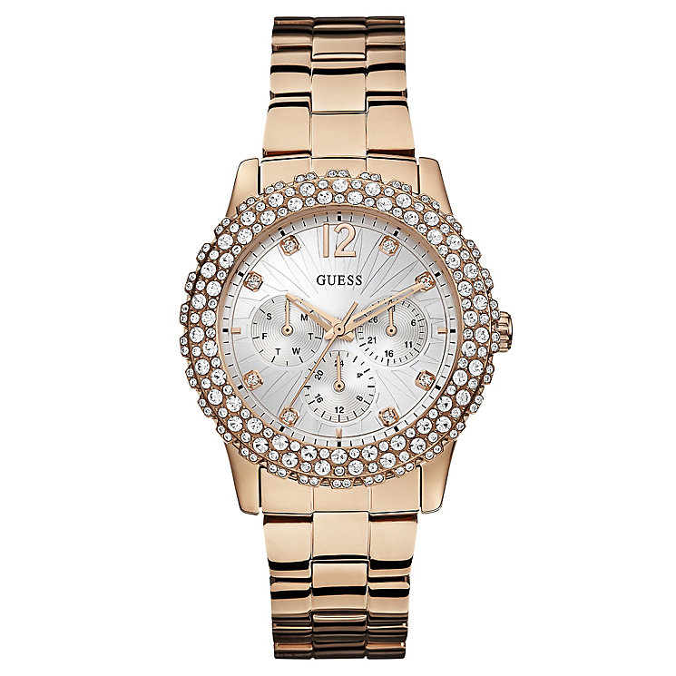 Guess Ladies' Rose Gold Plated Crystal Set Bracelet Watch ...
