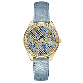 Guess Ladies' Snakeskin Effect Blue Leather Strap Watch - Product number 2621673