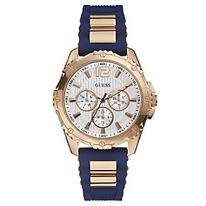 Guess Ladies' Rose Gold Tone Navy Silicone Strap Watch - Product number 2621681