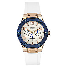 Guess Ladies' Rose Gold Tone & White Silicone Strap Watch - Product number 2621738