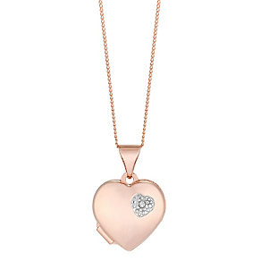 9ct Rose Gold Diamond Set Heart Locket - Product number 2621894