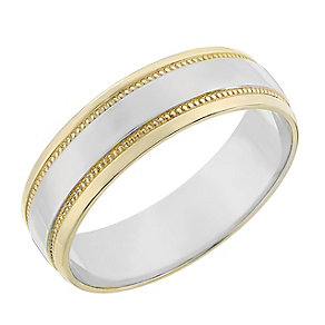9ct two colour gold 6mm milgrain ring - Product number 2623455
