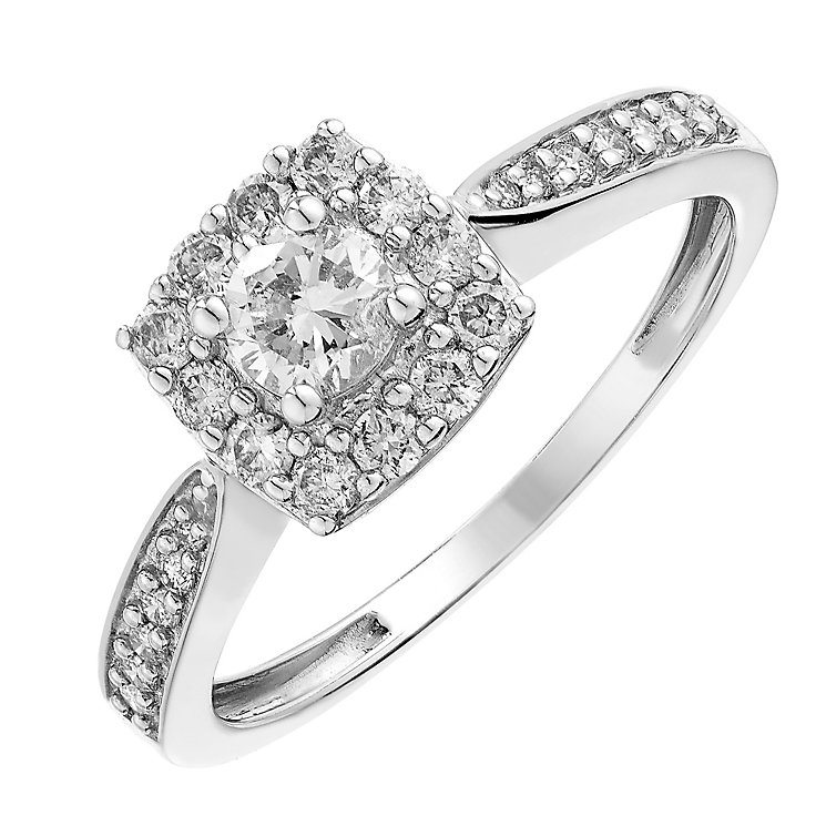 9ct white gold 0.50 CT halo diamond ring - Product number 2624192