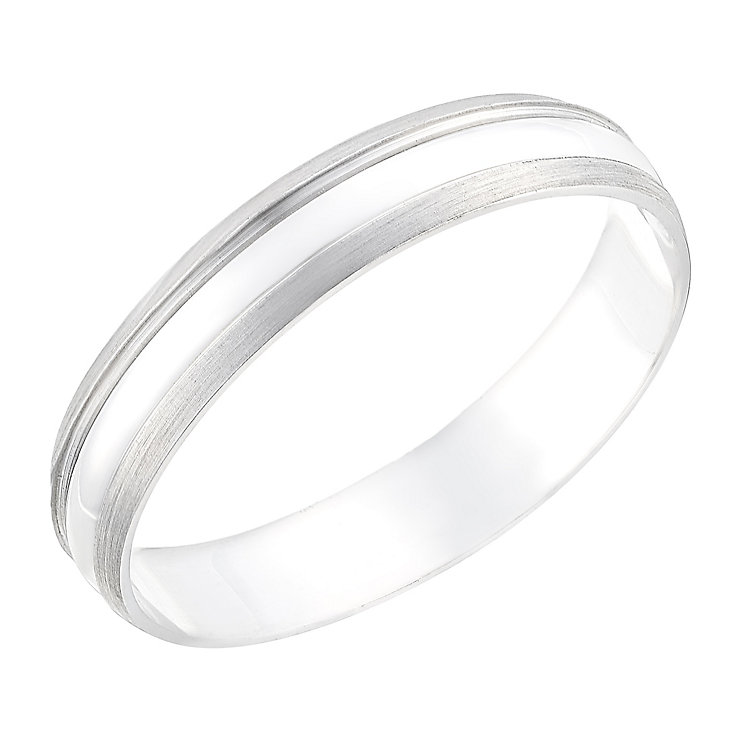 9ct white gold 4mm matt and polished ring - Product number 2624338