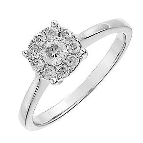 9ct white gold 0.33CT solitaire cluster diamond ring - Product number 2625040