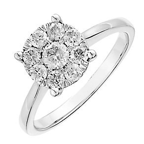 9ct white gold half carat solitaire cluster diamond ring - Product number 2625318