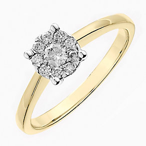 9ct yellow gold 0.25CT solitaire cluster diamond ring - Product number 2625563