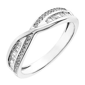 18ct white gold 0.20CT diamond crossover ring - Product number 2626233