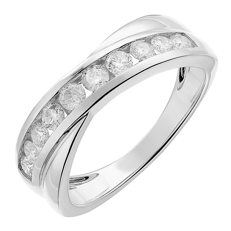 9ct white gold half carat crossover diamond ring - Product number 2627043