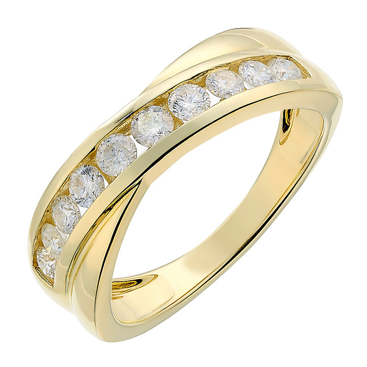 9ct yellow gold half carat crossover diamond ring - Product number 2627175