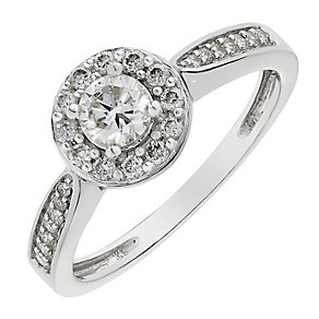 9ct white gold half carat halo diamond ring - Product number 2627442