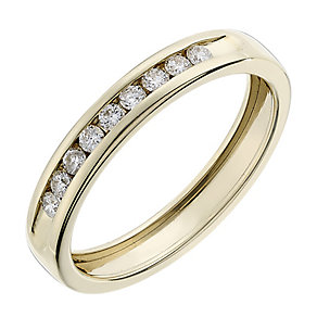 9ct yellow gold 0.15CT diamond channel set eternity ring - Product number 2627701