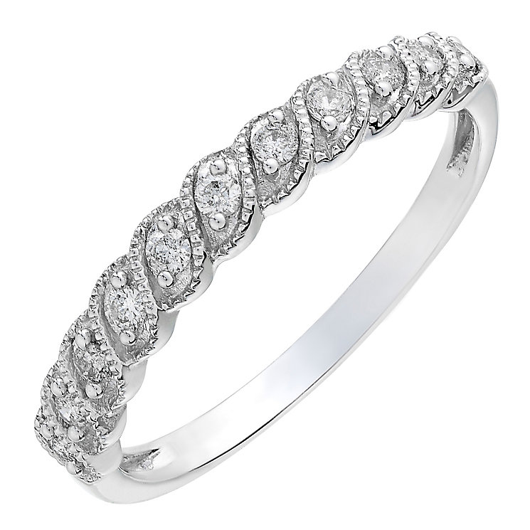 9ct white gold 0.15CT diamond milgrain ring - Product number 2629283
