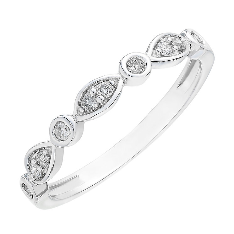 9ct white gold 0.11CT diamond bezel set marquise ring - Product number 2629410