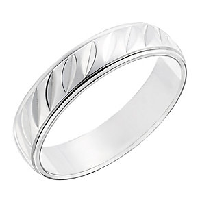9ct white gold detailed  5mm band - Product number 2629682