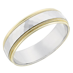 9ct yellow and white gold 6mm wedding ring - Product number 2629828