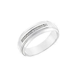 9ct white gold diamond men's wedding ring - Product number 2630370