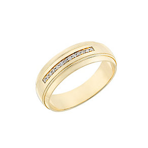 9ct yellow gold diamond men's wedding ring - Product number 2630982