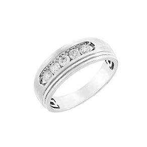9ct white gold half carat diamond men's wedding ring - Product number 2631199