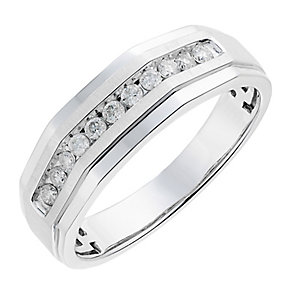 9ct men's white gold 0.25CT diamond ring - Product number 2631334