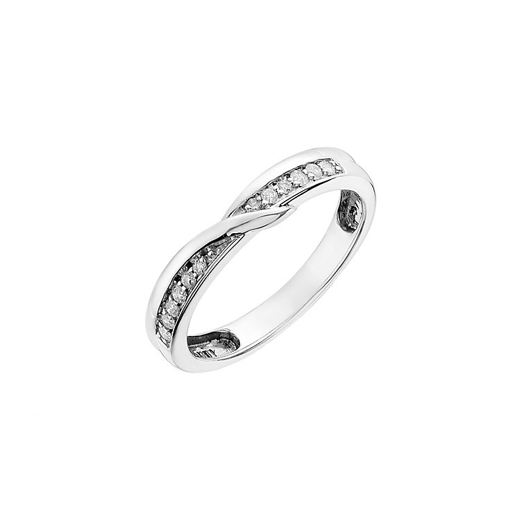 9ct white gold, 0.11CT diamond shaped wedding ring - Product number 2631466