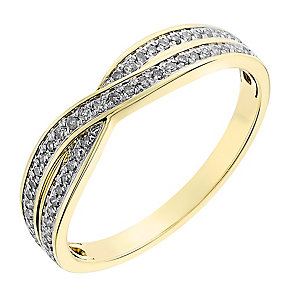 9ct yellow gold 0.15CT diamond crossover ring - Product number 2631598