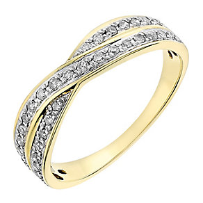 9ct yellow gold 0.25CT diamond crossover ring - Product number 2631725