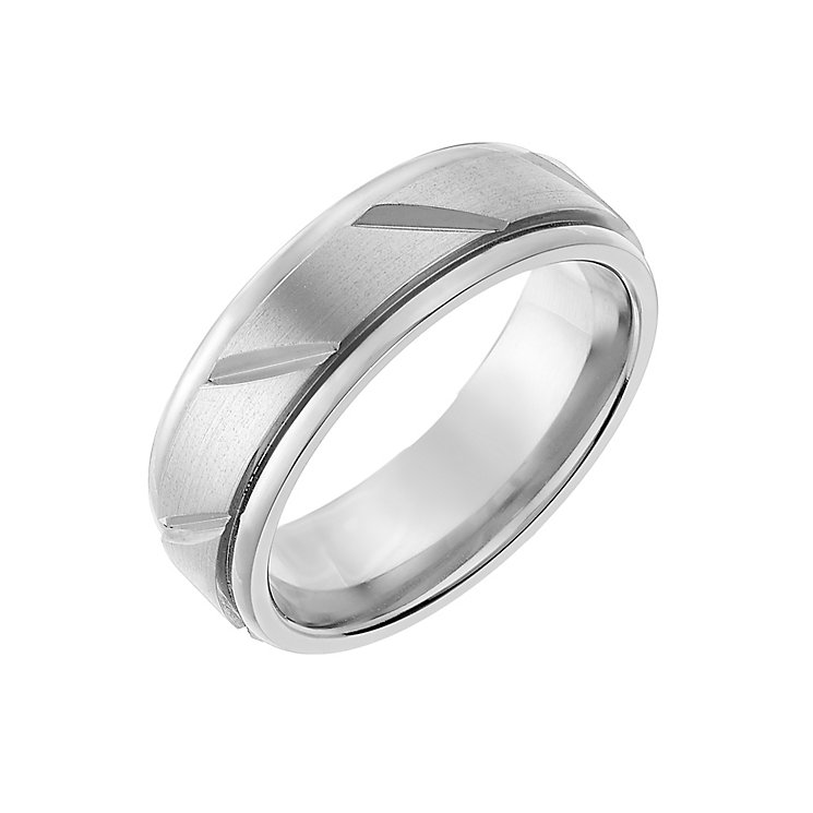 Titanium 7mm Matt & Polished Groove Ring - Product number 2634252
