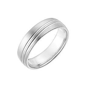 Cobalt 6mm Matt & Polished Line Patterned Ring - Product number 2634422