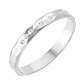 9ct White Gold 2.5mm Diamond Cut Wedding Ring - Product number 2634724
