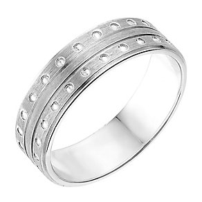 Sterling Silver Matte Finish Patterned 6mm Wedding Ring - Product number 2635011