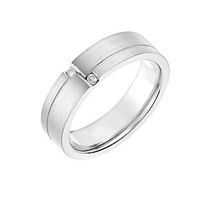 Titanium 6mm Diamond Set Matt & Polished Ring - Product number 2635186