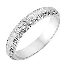 9ct White Gold 3.5mm Domed Diamond Cut Wedding Ring - Product number 2635348