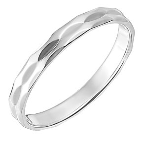 9ct White Gold 3mm Double Row Faceted Wedding Ring - Product number 2635739