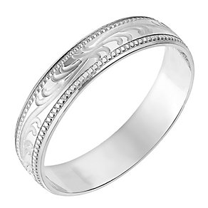 9ct White Gold 4mm Swirl Patterned Wedding Ring - Product number 2635879
