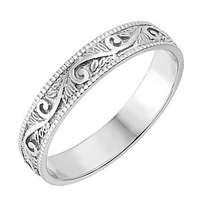 9ct White Gold 4mm Patterned Wedding Ring - Product number 2636018