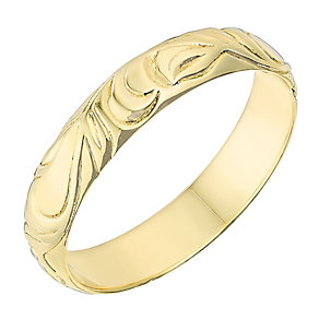 9ct Yellow Gold 4mm Swirl Design Wedding Ring - Product number 2636603