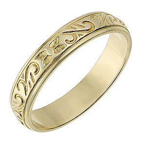 9ct Yellow Gold 4mm Patterned Wedding Ring - Product number 2636735