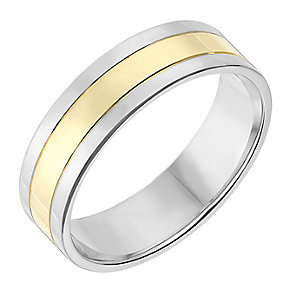 Silver & 9ct Yellow Gold 6mm Wedding Ring - Product number 2637022