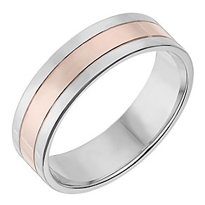 Silver & 9ct Rose Gold 6mm Wedding Ring - Product number 2637197