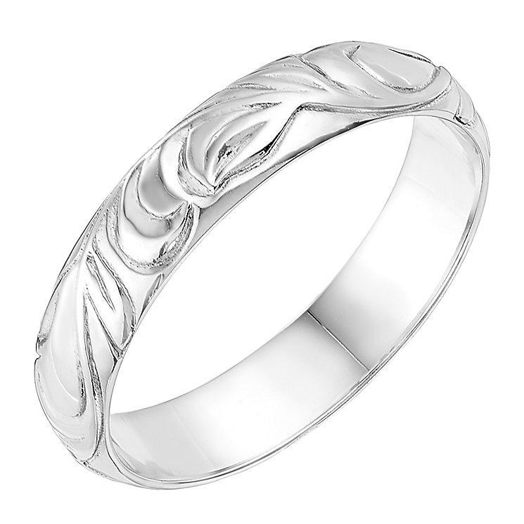 9ct White Gold 4mm Swirl Design Wedding Ring - Product number 2637359