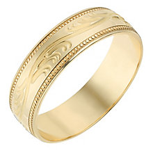 9ct Yellow Gold 6mm Swirl Patterned Wedding Ring - Product number 2637626