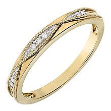 9ct Yellow Gold Milgrain Detail Diamond Set Wedding Ring - Product number 2637952