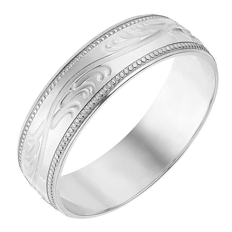 9ct White Gold 6mm Swirl Patterned Wedding Ring - Product number 2638088