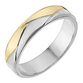 Silver & 9ct Yellow Gold 5mm Patterned Wedding Ring - Product number 2638258